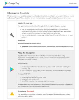 manifesto google play