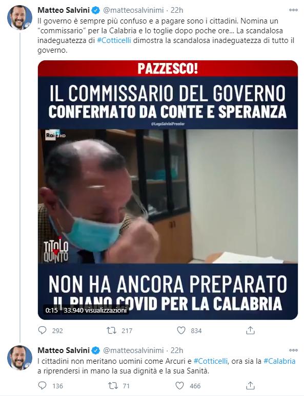 Tweet salvini Saverio Cotticelli